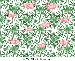 Pink Flamingos and palm leaves