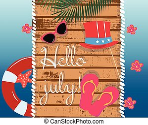 Summer Card with glasses and flipflops on wood background....