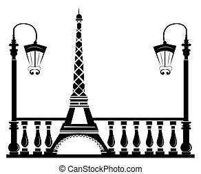 Paris Street Walkway with Tour Eiffel . Vector sketch