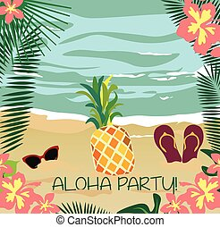 Summer Card with glasses and flipflops - Summer beach with...
