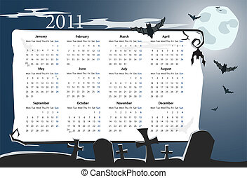 Vector Halloween calendar 2011 - Vector European Halloween...