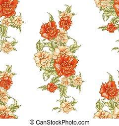 vendange, papier peint,  seamless, jaune,  roses, modèle