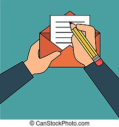 hand human with envelope