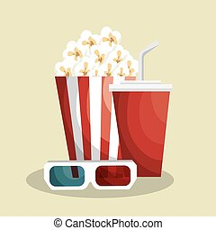 pop corn with soda vector illustration design