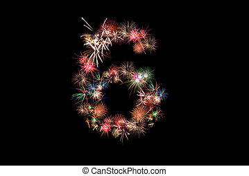 Number 6. Number alphabet made of real fireworks. See other numbers in my portfolio.