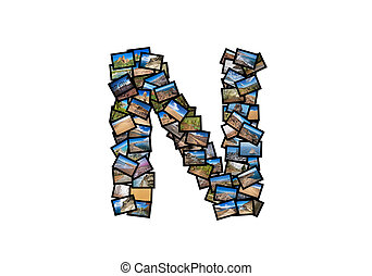 Letter N uppercase font shape alphabet collage made of my...