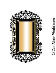 Baroque Golden Rococo frame decor. Vector French Luxury rich...