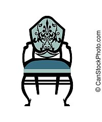 Vintage Chair furniture Vector. Rich carved ornaments...