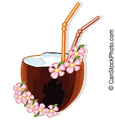 Exotic coconut cocktail with flowers. vector