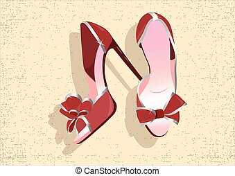Beautiful Red shinning Shoes Vector Watercolor illustration