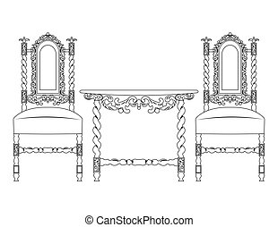 Set of classic ornamented furniture