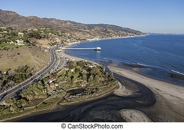 Malibu Lagoon and Surfrider Beach Aerial - Aerial of Malibu...