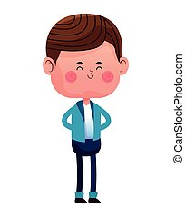 standing boy with blue pants jacket closed eyes vector...