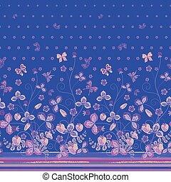 Vertical Seamless spring dark blue floral pattern with strawberries and leaves and pink butterflies