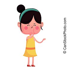 girl happy closed eyes with diadem vector illustration eps...
