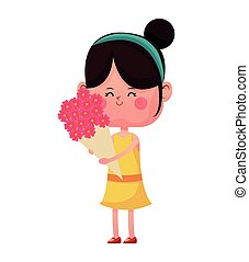 girl happy closed eyes with bouquetflowers vector...