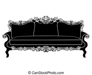 Vintage upholstered sofa. Luxury rich carved ornaments...