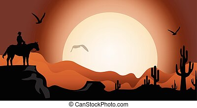 Sunset in the desert with animals on sunset. Vector