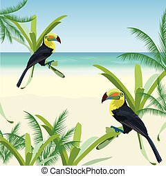 Exotic tropical card with toucan parrot birds and flowers....