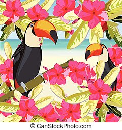 Exotic tropical card with toucan