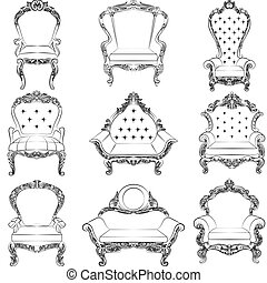 Baroque luxury style armchair furniture set collection....
