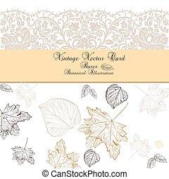 Vintage Autumn lace card
