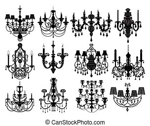 Classic chandelier Set Collection. Luxury decor accessory...