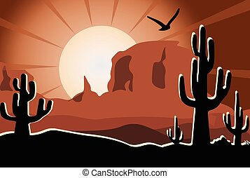Cactus in the desert sunset - Cactus in the desert with...