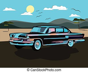 Vintage watercolor Retro car