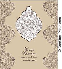 Vintage Card Damask Baroque pattern - Vintage Card Damask...