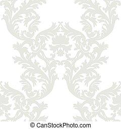 Vintage Baroque Rococo ornament pattern. Vector damask...