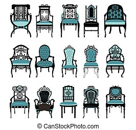 Vintage Chair furniture set collection Vector. Rich carved...