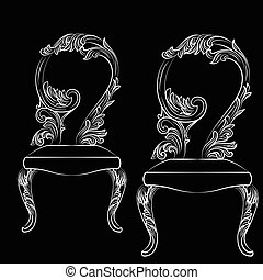 Baroque luxury style chair isolated Vector. Elegant sketch...