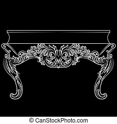 Rich Baroque commode Table with drawers. French Luxury rich...