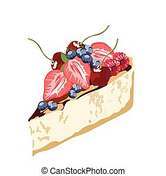Cheesecake dessert delicious slice - Cheesecake with fruits...