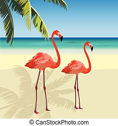 Two flamingo birds at Tropic Beach. Summer Vector Travel...