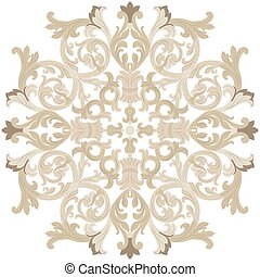 Vintage round Baroque ornament. Vector Luxury damask decor....