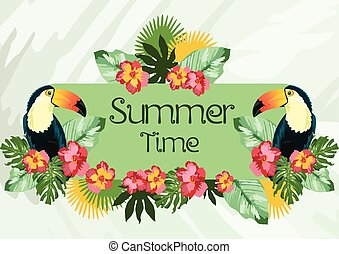 Exotic tropical Summer card with toucan parrot birds and flowers