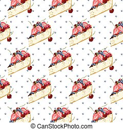 Cheesecake dessert pattern on dotted background Vector