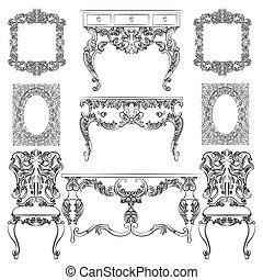 Vector collection of Baroque style furniture. Vintage Vector...