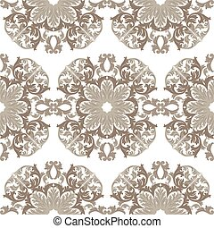 Vintage round Baroque ornament pattern. Vector Luxury damask...