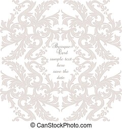 Vintage Baroque ornament card. Vector damask decor. Royal...