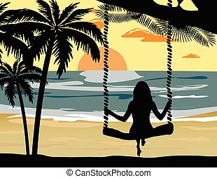 Summer Sunset Beach Vector with silhouette woman