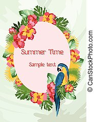 Exotic tropical Summer card with parrot birds and flowers