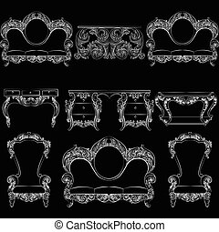 Vector collection of Baroque style armchairs furniture. Big...