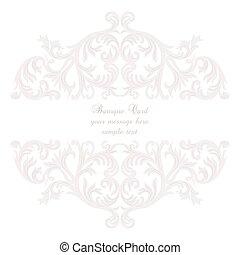 Vintage Baroque Rococo ornament card. Vector damask decor....