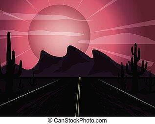 Sunset in the desert - Red Bright Sun Sunset in the desert...
