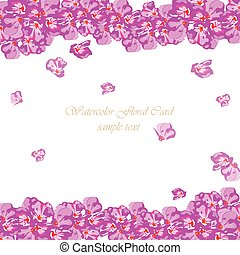 Watercolor Pink flowers card. Vector floral border for background greeting cards, invitations, weddings, birthday, Valentine's Day, Mother's Day