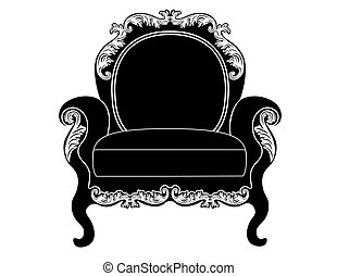 Vintage upholstered armchair. Luxury rich carved ornaments...