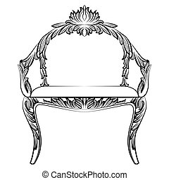 Baroque luxury style armchair furniture. Throne with...